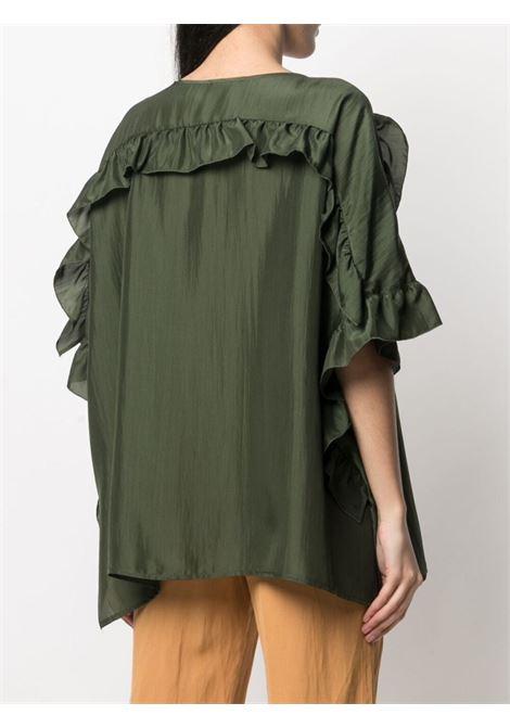 Blusa in seta Shatay in seta verde oliva P.A.R.O.S.H. | Camicie | D312241-SHATAY007