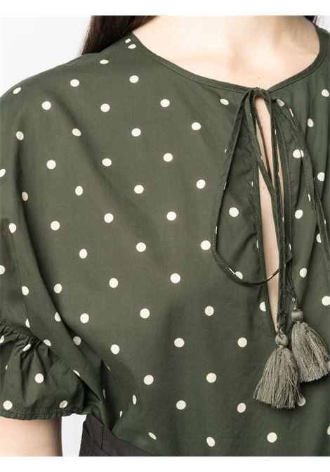 Blusa Clois in cotone verde con stampa a pois P.A.R.O.S.H. | Camicie | D312244-CLOIS807