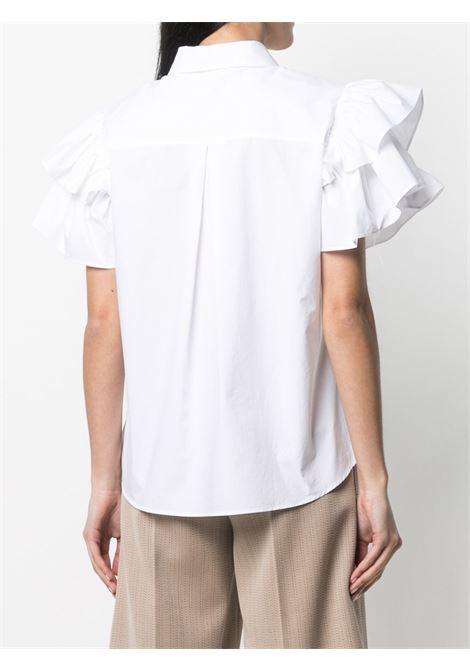 Camicia in cotone bianco con maniche a volant P.A.R.O.S.H. | Camicie | D381016-CANYOX001