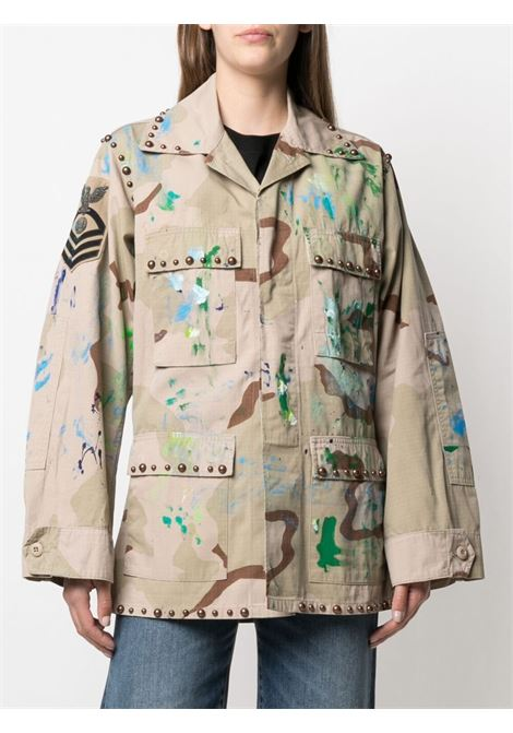 Khaki cotton-blend painterly-print military jacket   P.A.R.O.S.H. |  | D430818S-CATCRUSH803