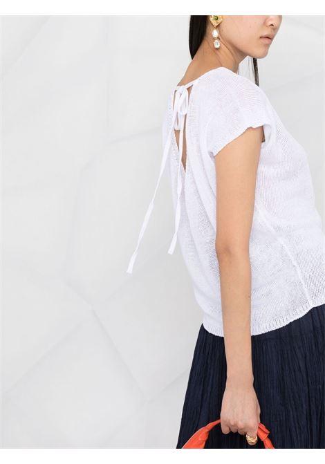 Top in lino bianco con allacciatura sul retro P.A.R.O.S.H. | Maglieria | D510307-BLING001