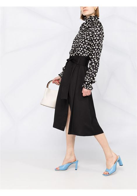 Black linen A-line skirt featuring high and belted waist P.A.R.O.S.H. |  | D620408-RAISA013