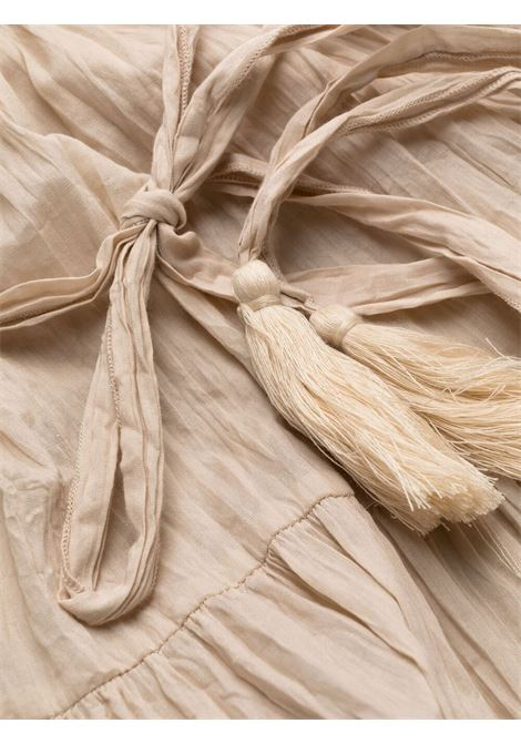 Abito beige in crêpe di cotone con scollo a V P.A.R.O.S.H. | Abiti | D721528-CAPODE004