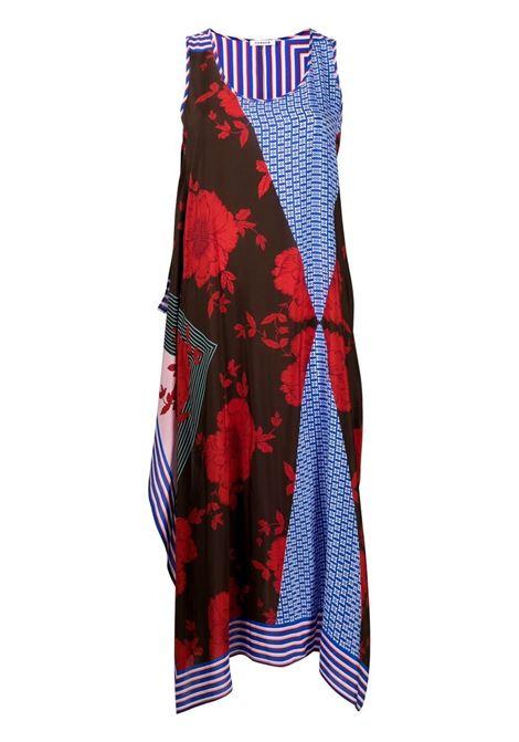 Abito senza maniche con pannelli in seta nera, rossa e blu P.A.R.O.S.H. | Abiti | D723244-SAFIX809