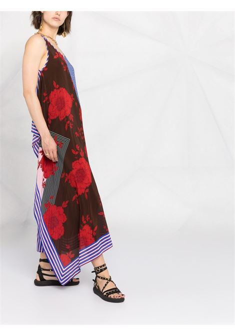 Black,red and blue silk panelled sleveless dress  P.A.R.O.S.H. |  | D723244-SAFIX809