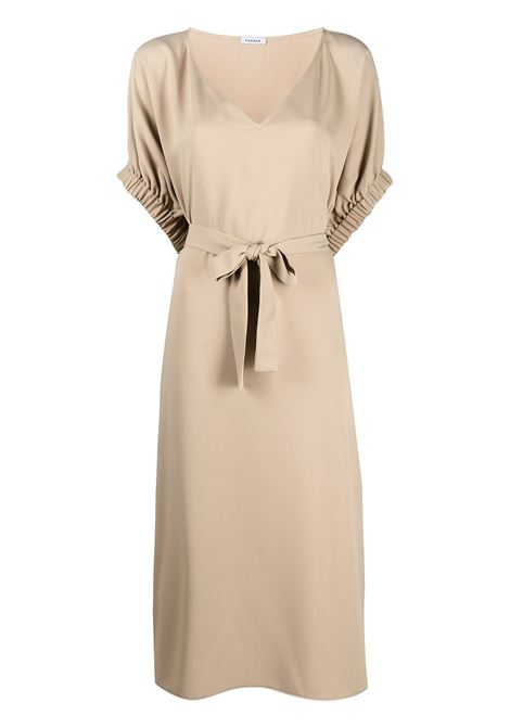 Beige V-neck tie waist dress featuring side fastening P.A.R.O.S.H. |  | D724061-PANTY004