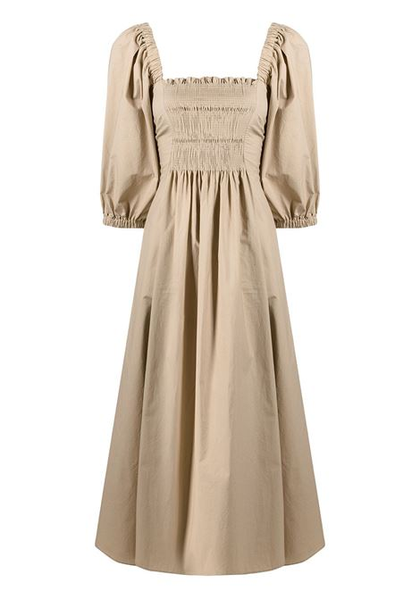 Beige cotton midi dress featuring square neck P.A.R.O.S.H. |  | D724065-CANYOX004