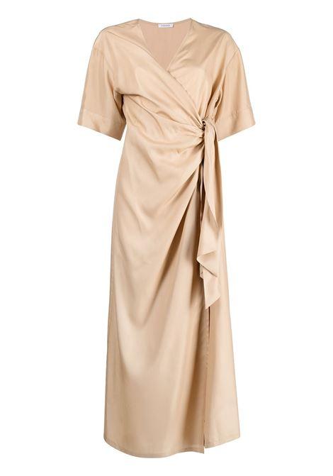 Abito drappeggiato in seta beige con scollo tondo P.A.R.O.S.H. | Abiti | D724076-SEITAN004