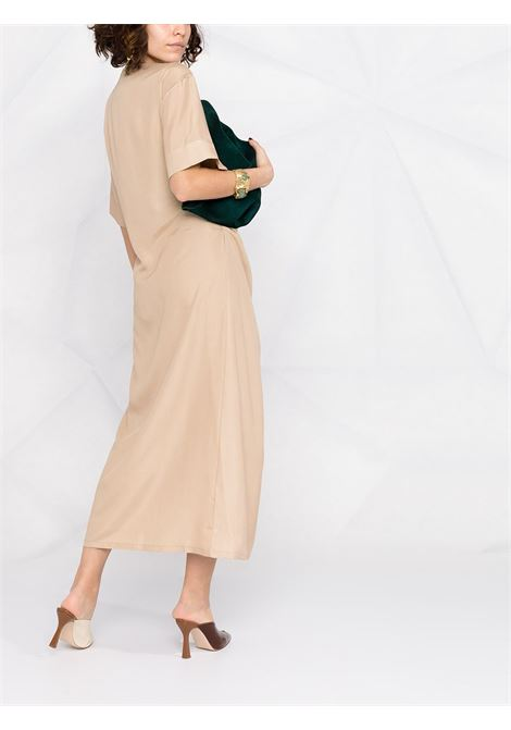 Beige silk draped dress featuring round neck P.A.R.O.S.H. |  | D724076-SEITAN004