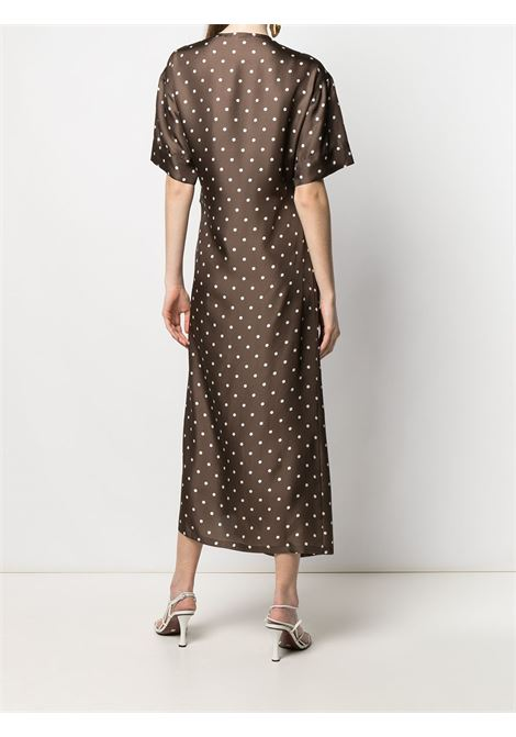 Brown and white silk polka dot print wrap dress featuring V-neck P.A.R.O.S.H. |  | D724076-SIPO808