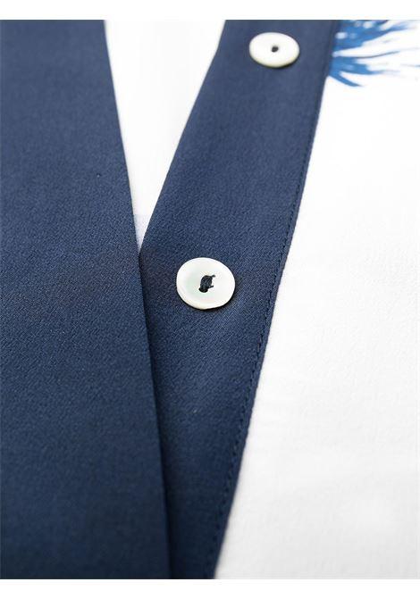 White and blue silk floral-print shirt dress  P.A.R.O.S.H. |  | D724077-SEBLU812