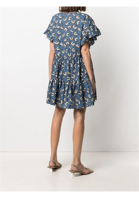 blue cotton floral-print flared mini dress  P.A.R.O.S.H. |  | D724147-CLEPTO846