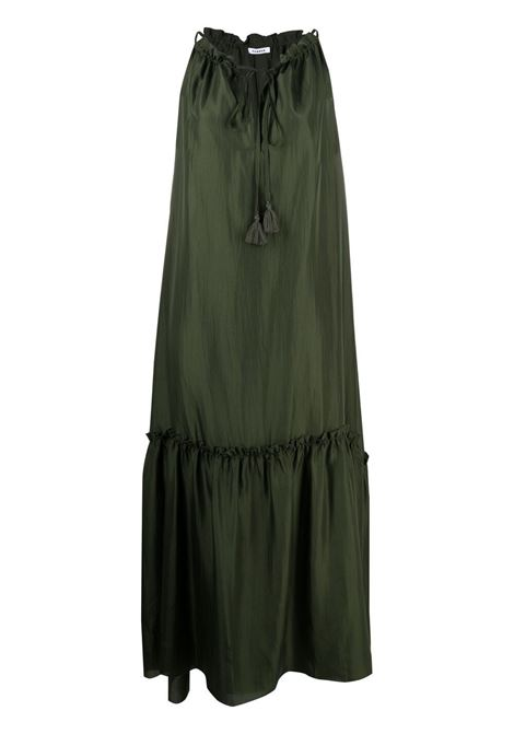Moss-green silk tie-fastening tiered maxi dress   P.A.R.O.S.H. |  | D724174-SHATAI007