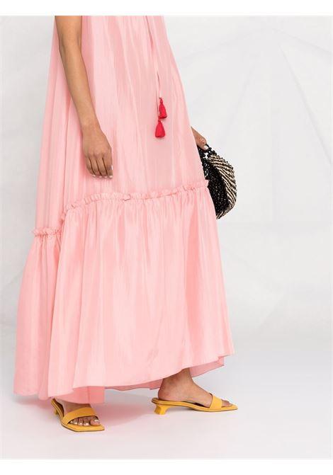 Abito lungo smanicato in seta rosa con scollo arricciato P.A.R.O.S.H. | Abiti | D724174-SHATAI025