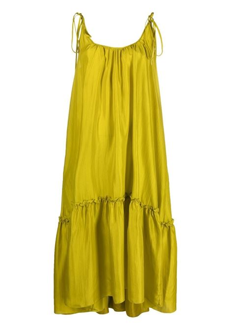 Mustard yellow tiered silk midi dress  P.A.R.O.S.H. |  | D724175-SHATAY035
