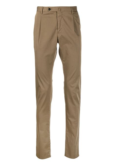 Brown cotton blend pleat detail slim trousers  PT01 |  | CODT11Z00CL1-RO050100