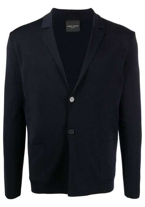 Navy fine knit wool cardigan featuring V-neck ROBERTO COLLINA |  | RE0301110
