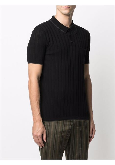 Black cotton ribbed-knit polo shirt  ROBERTO COLLINA |  | RE0702409