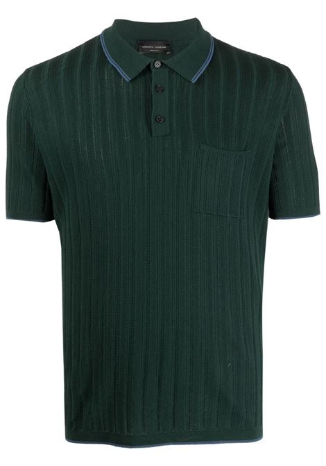 Polo a righe in cotone verde con motivo a righe verticali ROBERTO COLLINA | Polo | RE0702425