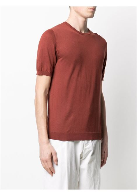 Red cotton short-sleeve knit t.shirt featuring round neck ROBERTO COLLINA |  | RE1002106