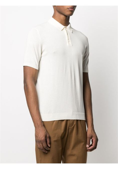 Latte nude cotton ribbed-edge polo shirt  ROBERTO COLLINA |  | RE1002402