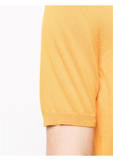 Yellow cotton fine knit polo shirt featuring button-down collar ROBERTO COLLINA |  | RE1002443
