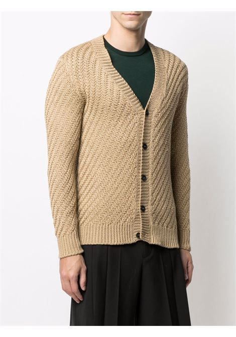 Light brown cotton V-neck knitted cardigan ROBERTO COLLINA |  | RE2911005