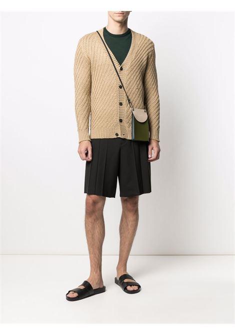 Cardigan in maglia con scollo a V in cotone marrone chiaro ROBERTO COLLINA | Cardigan | RE2911005