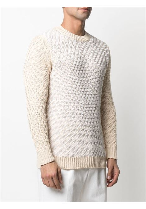 Maglione bicolore in maglia di cotone panna ROBERTO COLLINA | Maglieria | RE3000102