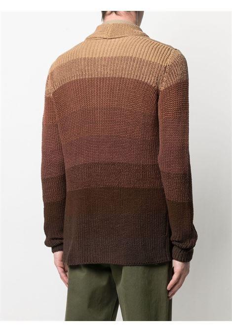 Cardigan in maglia di cotone effetto sfumato marrone ROBERTO COLLINA | Giacche | RE3801107