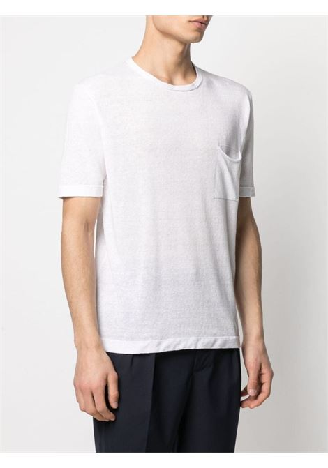 White linen and cotton T-shirt featuring chest patch pocket ROBERTO COLLINA |  | RE4202102