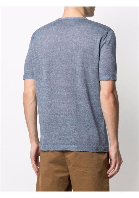 T-shirt blu con taschino in maglia di cotone e lino ROBERTO COLLINA   T-shirt   RE4202114