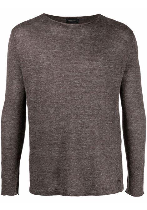 Maglione a maniche lunghe in maglia in lino e cotone marrone ROBERTO COLLINA | Maglieria | RE4210108