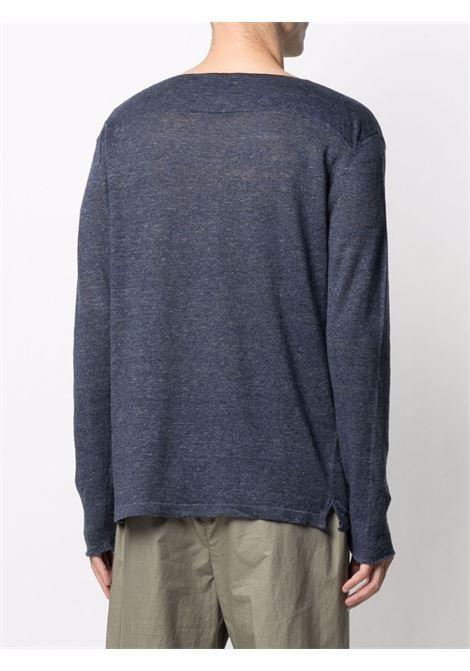 Maglia blu a maniche lunghe in misto lino e cotone ROBERTO COLLINA | Maglieria | RE4210110