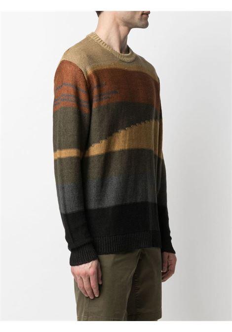 Maglione color block in lino marrone, grigio e nero con girocollo ROBERTO COLLINA | Maglieria | RE4300104