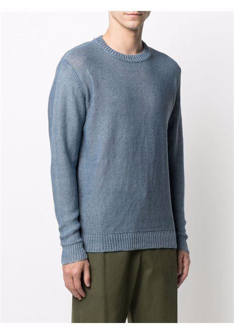 Blue linen faded crew-neck sweatshirt  ROBERTO COLLINA |  | RE5100114