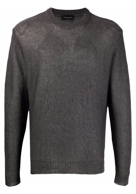 Maglia girocollo in lino grigio con motivo a righe orizzontali ROBERTO COLLINA | Maglieria | RE5100121