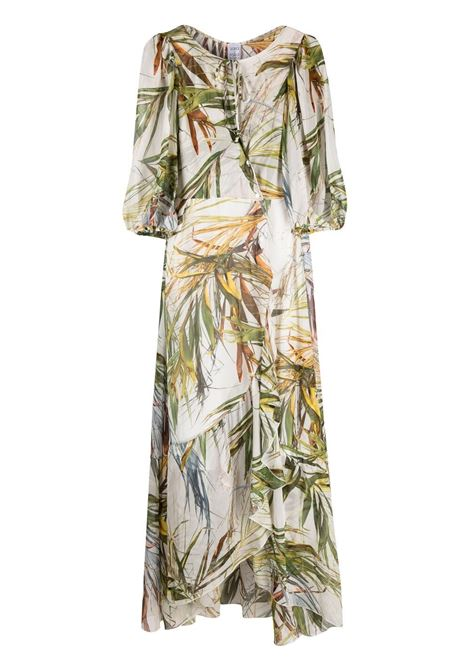 Multicoloured silk Anita foliage-print dress SARA ROKA |  | ANITALONG-33-S21700