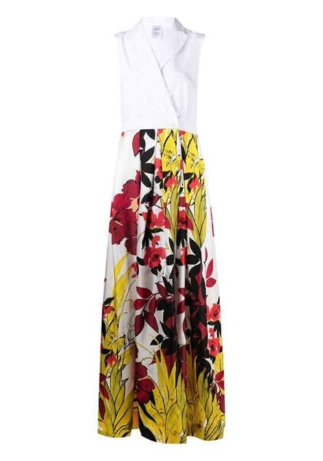 White multicoloured cotton and silk floral-print wrap maxi dress featuring pleat detail SARA ROKA |  | ARETTY113-36-S212069B
