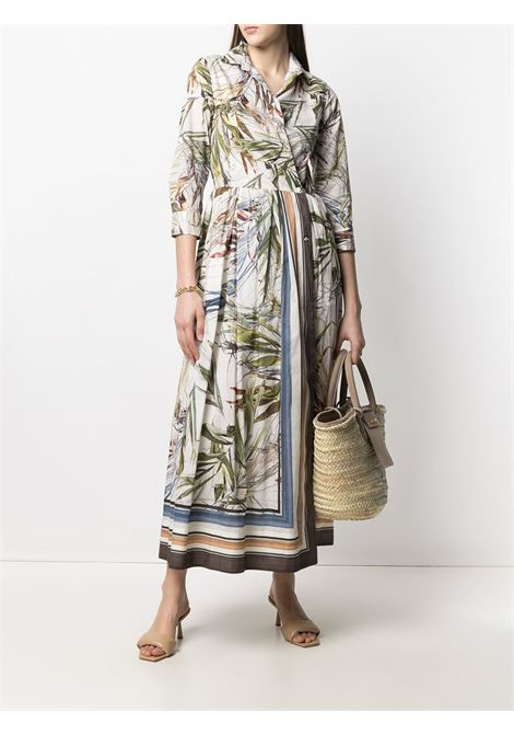 White and multicolour cotton leaf-print wrap shirt dress featuring geometric print SARA ROKA |  | EDNA96-34-S21B
