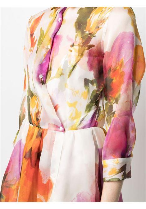 Abito in seta multicolor Elena con stampa floreale effetto acquerello SARA ROKA   Abiti   ELENASDLONG-35-S213530AB