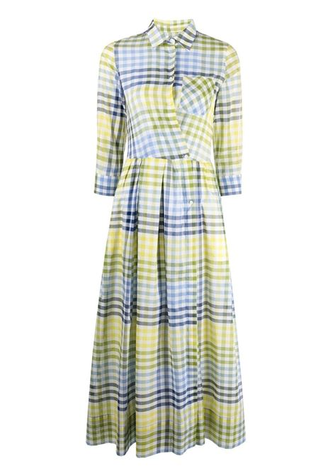 Lime and navy blue cotton check-print midi dress  SARA ROKA |  | ELENAT96-15-S2101