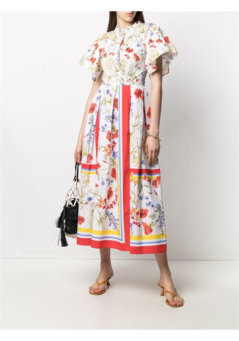 White and multicoloured cotton floral-print box-pleat midi dress SARA ROKA |  | FIORE90-31-S2130A