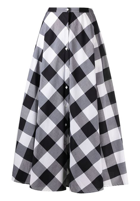 Black and white cotton check-print A-line midi skirt featuring high waist SARA ROKA |  | GESKA90-13-S21FB