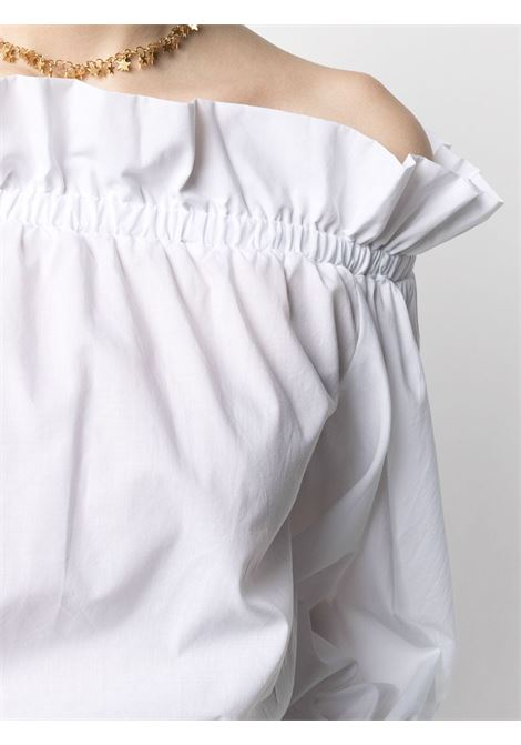 White cotton drop-shoulder ruffled blouse featuring  ruffled detailing SARA ROKA |  | ISIDE-02-S21001