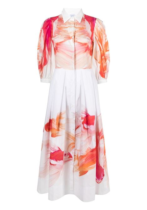 White,orange and pink cotton graphic-print midi shirt dress featuring box-pleat detail SARA ROKA |  | LEDA90-31-S2130G