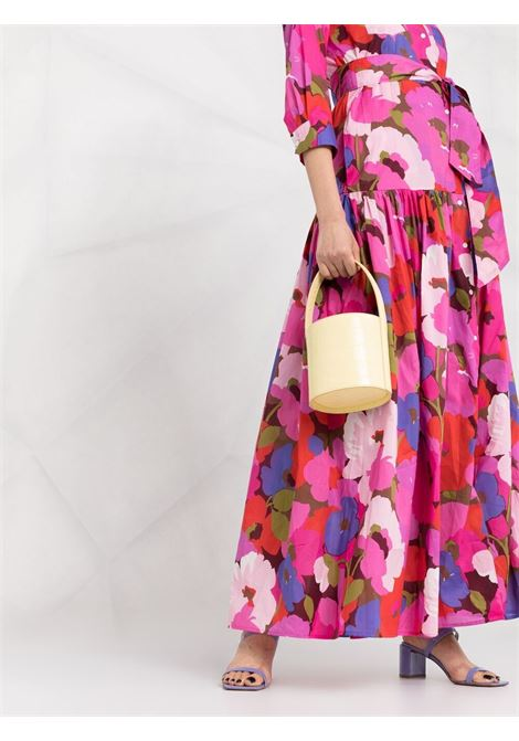 Fuchsia pink cotton floral-print maxi shirt dress  SARA ROKA |  | LINN SD-34-S2130A