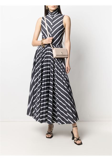 Black and white stripe-print sleeveless dress  SARA ROKA |  | TANNANS95-16-SS21B
