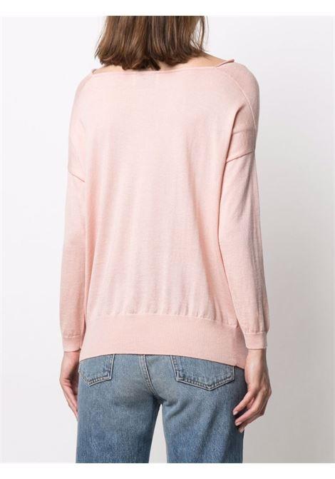 Maglia rosa chiaro in seta e cashmere con scollo a cappuccio SNOBBY SHEEP | Maglieria | 21S.90200310