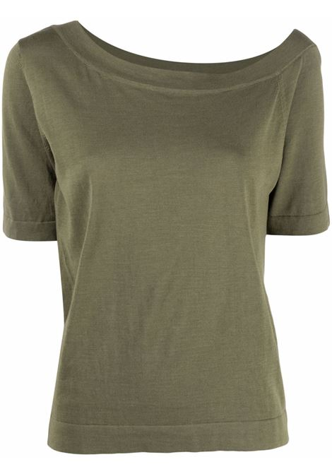 Olive green silk and cotton one-shoulder knit top   SNOBBY SHEEP      21S.91120880